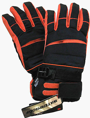 Athletic Works Boy's Gloves 3M Thinsulate Waterproof Black & Orange - Size 16-18