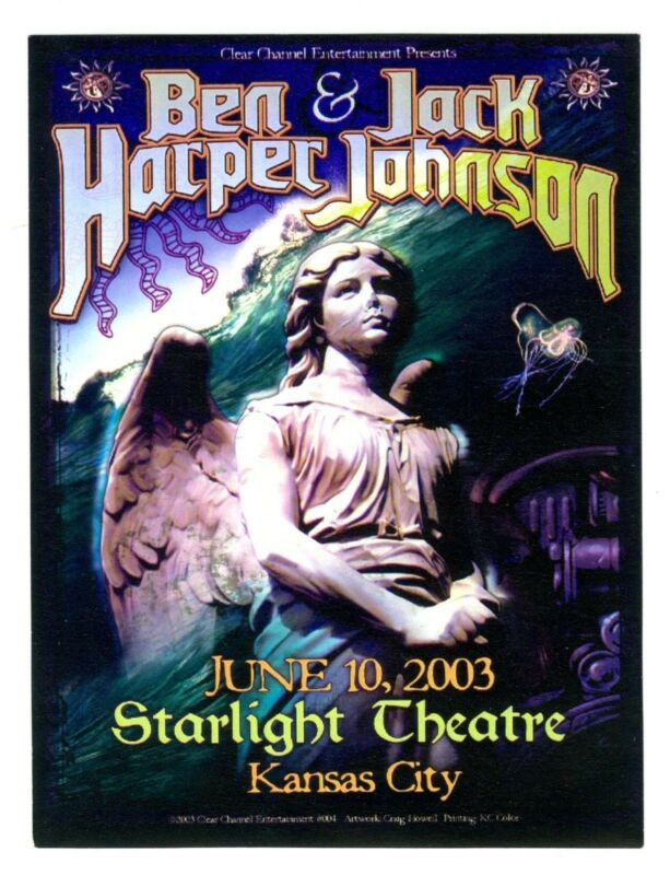 2003 Ben Harper & Jack Johnson Kansas City Concert Handbill - Craig Howell Art
