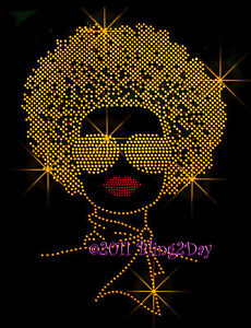 HUGE-WOMAN-w-AFRO-RHINESTONE-IRON-ON-TRANSFER-BLING