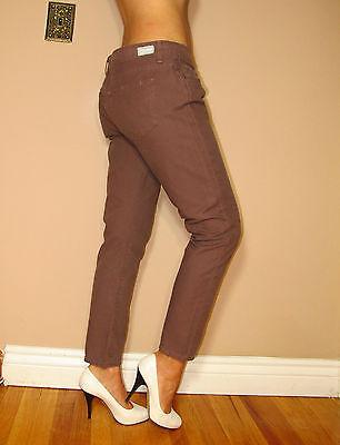 $176 Paige Roxbury Crop Skinny Leg Low Rise Dark Pink Stretch Ankle Jeans 31 32