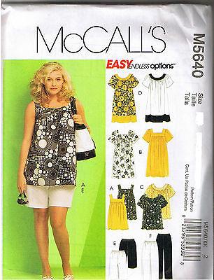 Womens Top Dress Shorts Capri Pants McCalls Sewing Pattern Plus Size 18 20 22 24