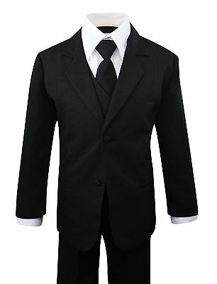 Boys Formal Black Suit 5 Pieces Set Toddler Size 2T to 14 - Boys Suit