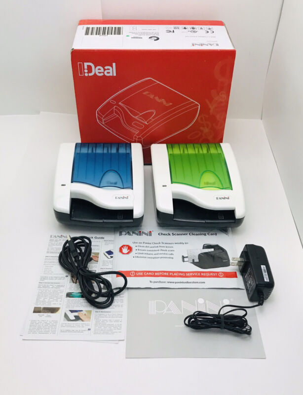 Panini I:DEAL Single Feed Check Scanner Bundle Box Manual Cord Lot Of 2 Scanners
