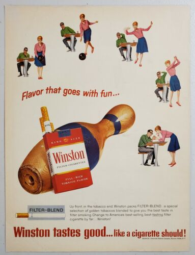 1965 Print Ad Winston Filter Cigarettes Couple Bowling & Pins