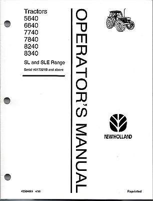 Ford-nh 5640 6640 7740 7840 8240 8340 Tractor Operators Manual -with Cab