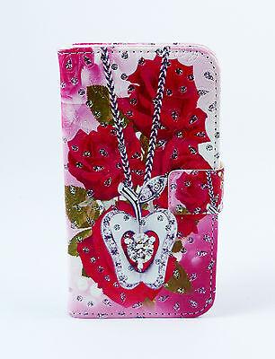 iPhone 5G Case Flip Cover Etui Tasche Hülle Rosen Schmuck Strass Liebe (Iphone Schmuck)