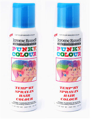 Jerome Russell Punky Color Temp'ry Spray-In Hair Colour SKY BLUE *TWO PACK* NEW (Blue Hair Spray)