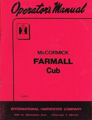1952 Mccormick Farmall Cub Operators Manual New Reprint