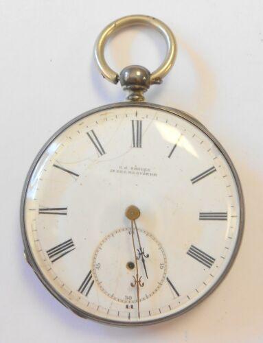 Rare C J Sohlke In Bremervorde Silver Case Mens Pocket Watch Key Wind