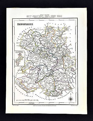 1831 Lewis Map England - Shropshire - Shrewsbury Wellington Whitchurch Ludlow