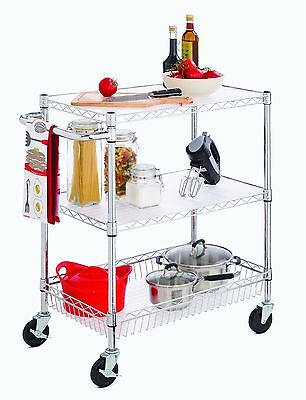 3-tier Rolling Wire Utility Cart With Basket Wheels