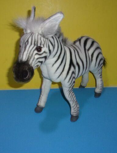 "Original Hansa Zebra Realistic Poseable Legs Stuffed Animal Plush 18"" Long"