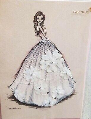 Papyrus Bella Pilar Lace Wedding Gown Bridal Shower Fabric Dress Greeting -