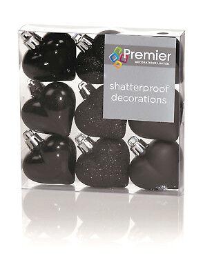 9 Palline 4 cm Cuore Eleganti Nero Dark Lucido Glitter Opaco x Albero di Natale