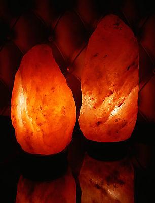 2 Natural Del Himalaya Roca de Sal Lámpara 3-5kg en Base Madera...