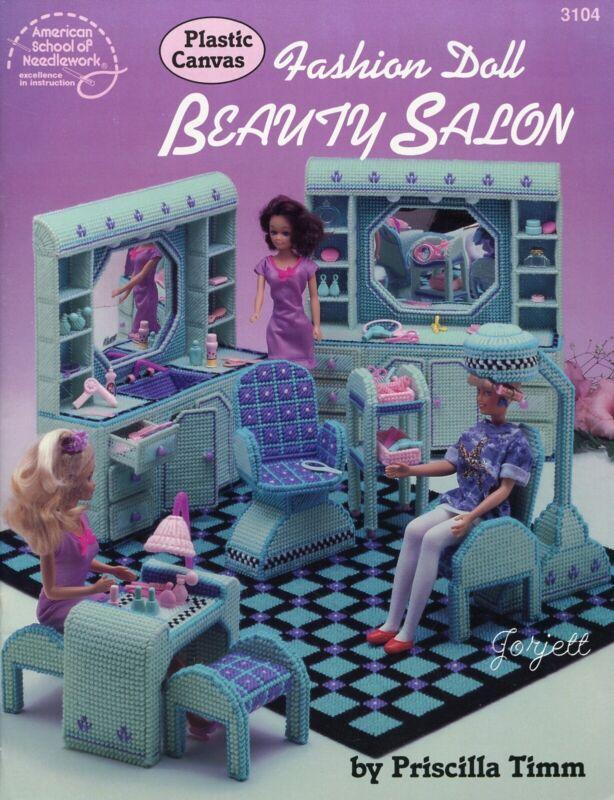 Fashion Doll Beauty Salon ~ fits Barbie dolls, plastic canvas pattern book USED
