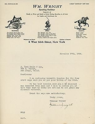 1928 W. Wright Sporting Outfitter Letterhead New York Horse Hunting Polo Racing