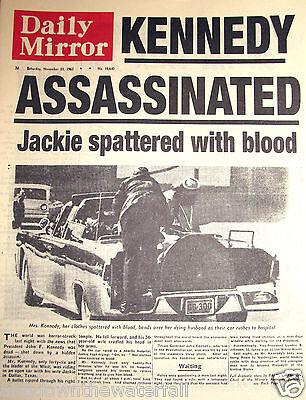 1963 John F Kennedy Killed Newspaper Murder Old Antique Americana Dr Who USA UK