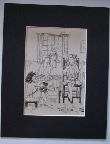 Print Girls Doll Sewing Time Rainy Day 1930s Bookplate 8x10 Matted Adorable