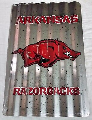 Arkansas Razorback Game (ARKANSAS RAZORBACKS CORRUGATED SIGN FOOTBALL GAME DORM ROOM MAN CAVE)