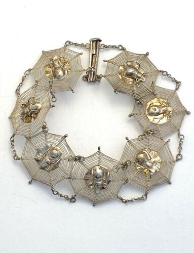 Antique Chinese Spider Web Silver Bracelet
