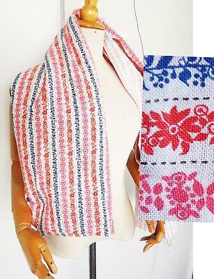 Vintage Fabric red blue stripe cotton floral vine grape pink 3yd stitch 60s 50s ()