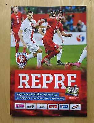 Czech Republic V Scotland. Prague, 24/03/16. Match programme. Friendly.