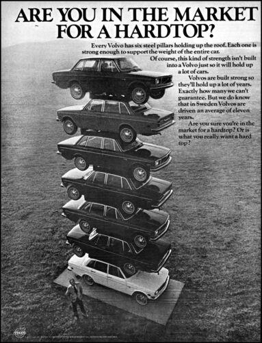 1971 Volvo Car Hardtop 7 Automobiles Stacked together retro photo print ad  L17