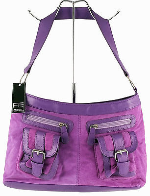 FASHION ESSENTIALS Faux Suede Lilac Multi-Pocket Shoulder Bag. New with Tags.