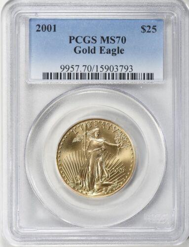 2001 $25 GOLD EAGLE PCGS MS70 LOW POP 46 COINS