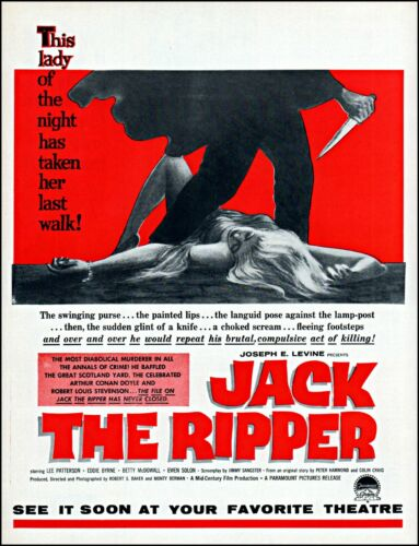 1960 Jack The Ripper movie release Lee Patterson vintage art Print Ad adl72