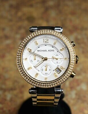 *Michael Kors MK5626 Parker Two Toned Chronograph Ladies Watch PreOwned BIN FS