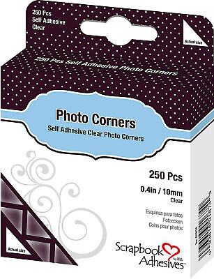 """Scrapbook Adhesives by 3L Photo Corners Self-Adhesive .375"""" 250/Pk-Clear New!"""