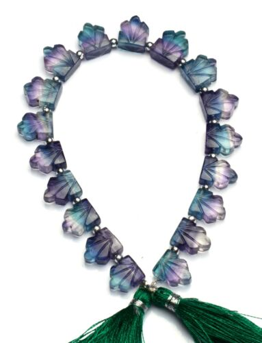 """Natural Gem Rainbow Fluorite 10x8 to 12x10mm Size Carved Leaf Shape Beads 8.5"""""""