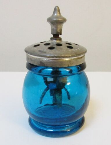 Antique Christmas Salt Agitator Rare Aqua Blue Alden Sandwich Glass