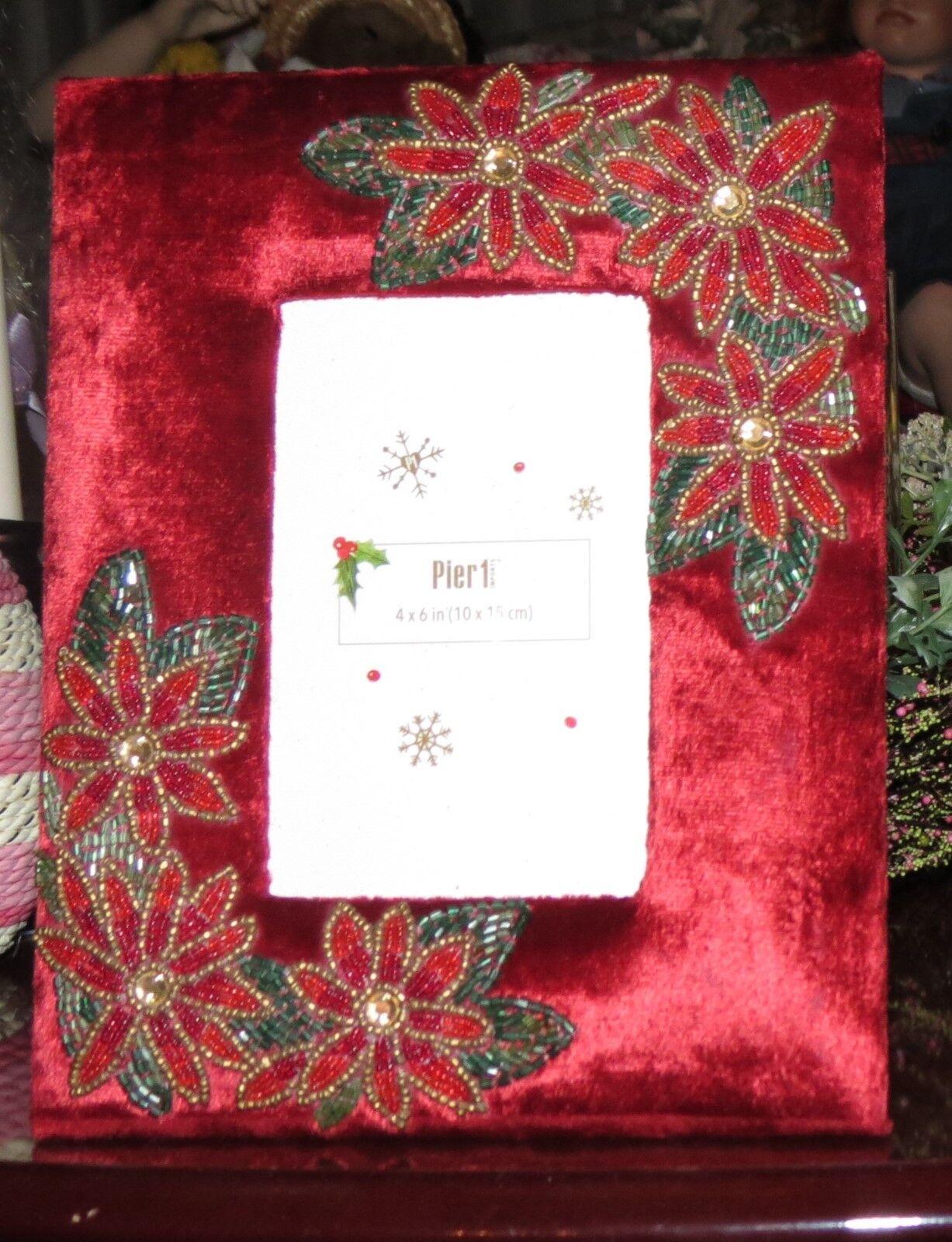 PIER 1 CHRISTMAS RED VELVET RED BROWN GREEN GOLD BEADED FLOWER PICTURE FRAME