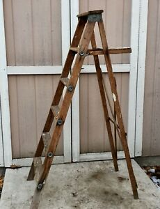Vintage ladder original rustic patina.