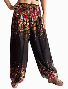 HAREM PANTS / TROUSERS - LEGGINGS  BAGGY YOGA SMOCKED- 39
