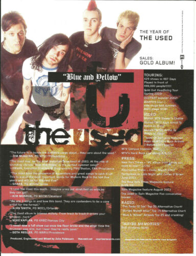 THE USED Rare 2003 Blue & Yellow PROMO TRADE AD Poster for Self titled CD MINT