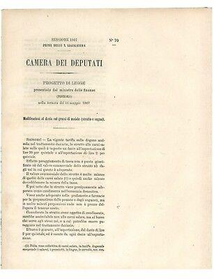 CAMERA DEI DEPUTATI 1867 MODIFICAZIONI AL DAZIO SUI GRASSI MAIALE STRUTTO SUGNA