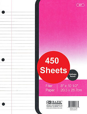 450 Sheets Hole Punched Filler Paper College Ruled 10.5 X 8 26.7cm X 20.3cm