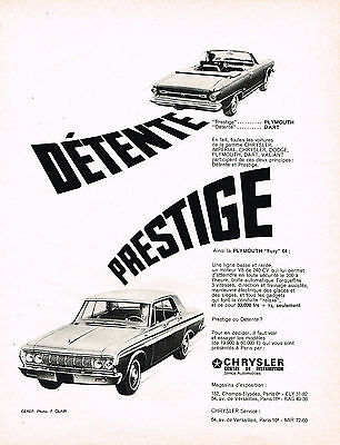 PUBLICITE ADVERTISING 054  1964  CHRYSLER   PLYMOUTH   DAR & (1964 Plymouth Fury)