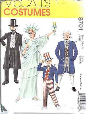 History Halloween America (8701 UNCUT McCalls SEWING Pattern America Patriotic Costume History Halloween)