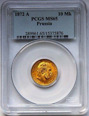 Preußen 10 Mark 1872 A - PCGS MS 65 - Stempelglanz
