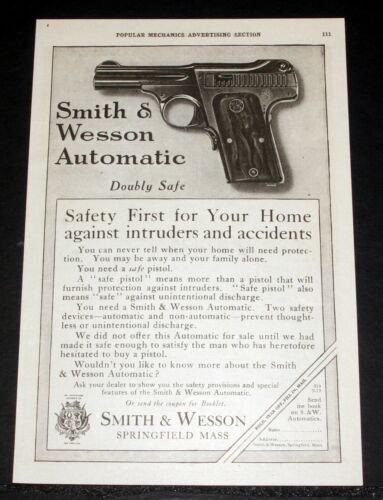 1915 OLD MAGAZINE PRINT AD, SMITH & WESSON AUTOMATIC PISTOL, WITH DOUBLE SAFETY!