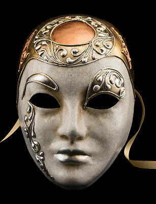 Mask from Venice Face Volto Silver Crackle Coppered Paper Mache Gilding 2540