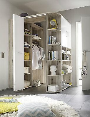 Eckschrank Corner, begehbarer Kleiderschrank, Sandeiche Weiß 146-133x198 cm - Weißer Eckschrank