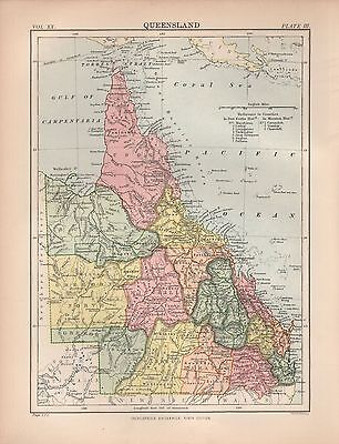 1880 ca ANTIQUE MAP-AUSTRALIA, QUEENSLAND