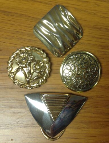 Vintage Scarf Dress or Shoe Clip Lot of 4 one signed West Germany Gold & Silver