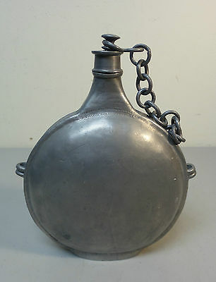 NICE ANTIQUE PEWTER CANTEEN / FLASK PUNCH DECORATION, LID with CHAIN